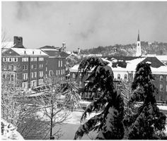 Looking northwest at Baker Center (Old) and Howard Hall from College Green. Prior to construction of R-TV Building in 1968. :: Ohio University Archives