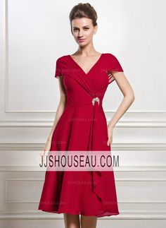 Cap Straps Chiffon Beading  Sequins  Cascading Ruffles A-Line/Princess Short Sleeves Mother of the Bride Dress