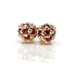 Ruby Studs in 14k Rose Gold, Pave Ball Studs, Solid 14k Rose Gold Stud Earrings, READY TO SHIP,  Ruby July Birthstone. $458.00, via Etsy.