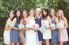 Mix & Match bridesmaid dresses: http://www.stylemepretty.com/texas-weddings/austin/2013/08/26/mercury-hall-wedding-from-half-orange-photography/ | Photography: Half Orange Photography - http://halforangephotography.com/