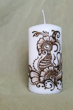 Henna pillar candle with Mehendi design Flowers and by SoulMadeArt, $23.00