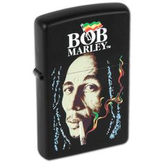 This Bob Marley Zippo lighter features Bob Marley smoking a spliff with rasta colored smoke rising. Get yours at BobMarleyShop.com!