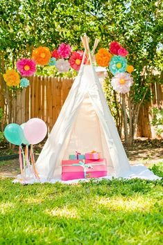 Backyard teepee wonderland for the kiddies