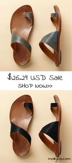 $26.29 USD Sale!SHOP NOW! Daily Leather Flat Heel Toe Ring Slippers