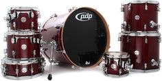 PDP Concept Maple 7-Piece Drum Shell Pack - Trans Cherry | Sweetwater.com