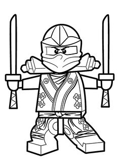 Green Ninja coloring pages for kids, printable free