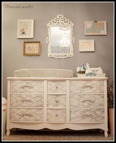 Bella's Vintage Nursery {Home} Paint , lace and spray paint for a fun finish on updated furniture.