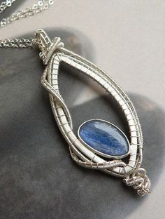 Blue Kyanite Sterling Silver pendant Wrapped Necklace by Mirma