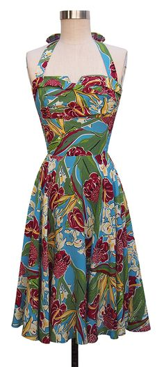 It's Time For A Vintage Tiki Party! - The Glamorous Housewife Floral Fashion, I Love Fashion, Vintage Fashion, Tropical Fashion, 1950s Fashion, Vintage Dresses, Vintage Outfits, Vintage Tiki, Vintage Wear