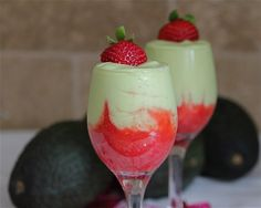 Easy Avocado Smoothie - Basic and Elegant {Avocado Mousse with Strawberry Puree} - Jeanette's Healthy Living