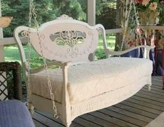 Love this swing! Victorian settee, legs cut off, painted, and covered in vintage chenille, add 4 eye bolts and chain. Sweet!
