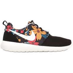 NIKE Roshe Run Printed Nylon Sneakers - Black/Multi ($125) ❤ liked on Polyvore featuring shoes, sneakers, floral print shoes, floral printed shoes, nike shoes, kohl shoes and black trainers