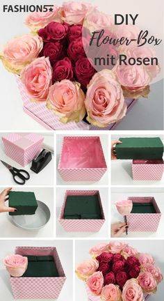 FLOWER BOX DIY – Self Made Rosenbox Are you looking for a unique gift for your loved ones? How about a flower box as a surprise? The flower box is currently an absolute trend and a perfect eye catcher in the home. Diy Flower Boxes, Flower Box Gift, Diy Flowers, Paper Flowers, Flowers In A Box, Luxury Flowers, Bouquet Cadeau, Bouquet Box, Diy Bouquet