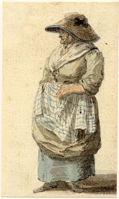 "Paul Sandby.  ""A Market woman, one of the figure sketches made in Edinburgh and the neighbourhood after the rebellion of 1745; whole-length turned to left, wearing a soft hat with large brim and checked apron Pen and black ink and grey wash, with watercolour""  British Museum."
