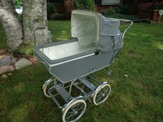 Gray Vintage Carriage Mid Century Baby Tech Baby Buggie Stroller and Rocker #BabyTech