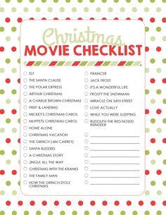 christmas movie checklist - Christmas Movie List