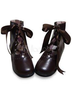 Coffee Brown Lolita Short Boots Low Heels Lace Up - Milanoo.com