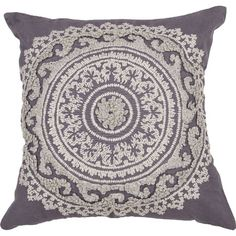 Let this lovely cotton pillow's medallion print lend an elegant touch to your favorite arm chair, or pair it with other softly hued designs to give the livin...