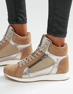 On SALE at 41% OFF! Metaliic detail high top sneakers by ALDO. Shoes by ALDO, Faux suede upper, Metallic inserts, Lace-up fastening, Zip detailing, High top design, Chunky sole, Gr...