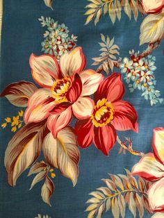 Dazzling 40s Barkcloth Era Floral Fabric// Hollywood by KimberlyZ