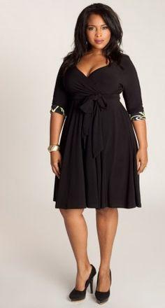Faux Wrap Dress with Contrast Cuffs by Igigi