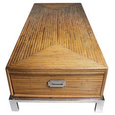Rare Milo Baughman Bamboo and Chrome Coffee Table 1
