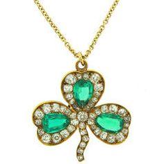 c.1930's J.E. Caldwell Emerald Diamond & Yellow Gold Clover Pendant