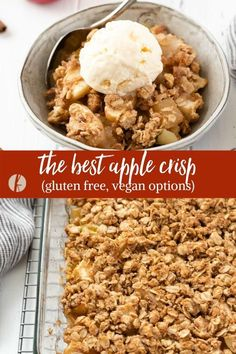 Easy Apple Crisp Recipe is tender chunks of apples with brown sugar, warm cinnamon and a hearty oatmeal crumble! It's full of fall flavor and includes gluten-free and vegan options! #applerecipes #applecrisp #dessertrecipes