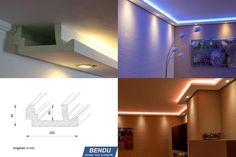 Stuckleisten, Lichtprofil für indirekte LED Beleuchtung von Wand u. Decke, Stuckprofil aus Hartschaum - WDML-200A-PR