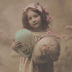 Girl with Decorated Easter Eggs Original Vintage