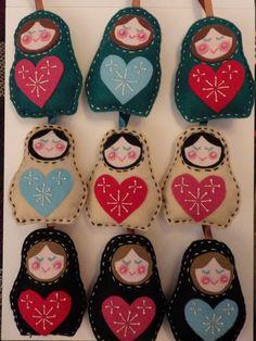 Russian Doll Christmas Tree Decorations - Cream Black  and Emerald - Set of nine