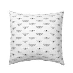 Antique Airplanes Front View Diagram Black & White Pattern European Pillow Sham @ Spoonflower #spoonflower #fabric #pillow #pillows #pillowsham