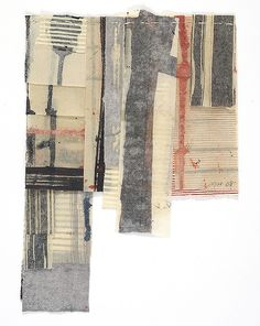 Mixed media on stitched paper.