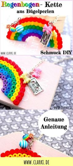 Jewelry DIY: Rainbow necklace made of beads and pendants easy yourself mac … - Crafts For Christmas Diy Jewelry, Jewelry Making, Diy Schmuck, Cool Diy Projects, Round Beads, Perler Beads, Christmas Crafts, Crochet Necklace, Rainbow