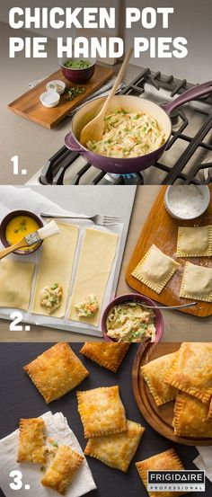 With a cream cheese pie dough and chicken pot pie filling, these savory individual pies are a handheld spin on the ultimate comfort food!  Step 1 - Make your filling: onions, carrot, celery, thyme, flour, stock, milk, chicken and peas. Step 2 - Make your dough: flour, baking powder, salt, butter, cream cheese, water and vinegar. Then assemble each hand pie. Step 3 - Bake for 18-22 minutes or until golden brown. Allow to cool before serving. Click for full recipe by /spoonforkbacon/.