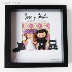 Novios personalizados en fieltro para Jose y Sheila - Anuski´s World