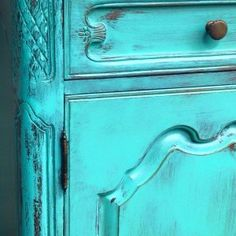 Mermaid kiss turquoise distresed and  painted buffet.  Wise Owl Chalk Synthesis Paint