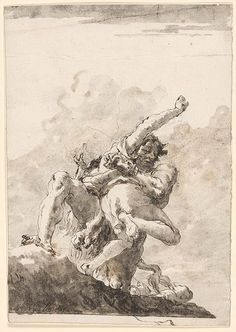 Giovanni Domenico Tiepolo   Hercules and Anteus   Drawings Online   The Morgan Library & Museum
