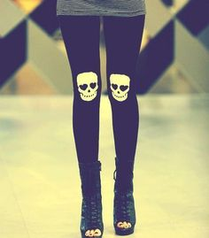 "SKULL TIGHTS  (No, of course I do not want these hideous things.  It's just funny because what it says to me is ""My knees hurt so much!"")"