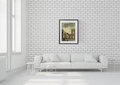 Source Brick Outline Wallpaper by Mineheart Brick Wallpaper, Paper Wallpaper, Wallpaper Roll, Luxury Wallpaper, Designer Wallpaper, White Bookshelves, Room Dimensions, Soft Furnishings, Home Decor Accessories
