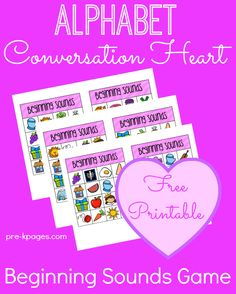 Valentine Alphabet Conversation Heart Beginning Letter Sounds Printable Game #ece #prek #ValentinesDay #freebies #printables