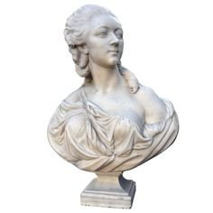 After Augustin Pajou (1730-1809), a white Carrara marble bust of Madame du Barry dated 19th C. The original model kept in Louvre Museum and dated 1773