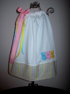 Easter Bunny Peeps Pillowcase Dress With M2M Hair by molliepops, $32.99
