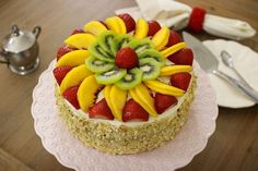 This incredibly tender Fluffy Honey Layer Cake is perfect for any occasion. The creamy sour cream frosting pairs so well with the honey cake and the fresh fruit and almonds. Food Cakes, Cupcake Cakes, Fruit Cakes, Cake Decorated With Fruit, Decorated Cookies, Sour Cream Frosting, Fresh Fruit Cake, Ripe Fruit, Cake Recipes