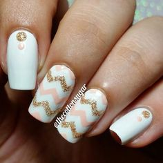 Love the sparkly and creamy colored design by @thecottonsugar! • Using: Chevron Nail Vinyls www.snailvinyls.com