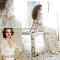 Best Selling Custom Made Sheath V-Neck Beaded Sashes Backless Half Sleeves Wedding Dress Designer Bridal Gowns Free Shipping-jh on AliExpress.com. $195.00