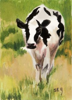 want to paint this Original ACEO Painting in Watercolor Farm Animal by syoderart, $16.00