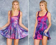 Mermaid Tie Dye Vs Pink Tie Dye Inside Out Dress - LIMITED ($140AUD) by BlackMilk Clothing