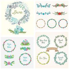 Wedding decoration floral laurel set vector