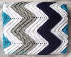 Custom Chevron Crochet Baby Boy Blanket by HookYarnAndHooper